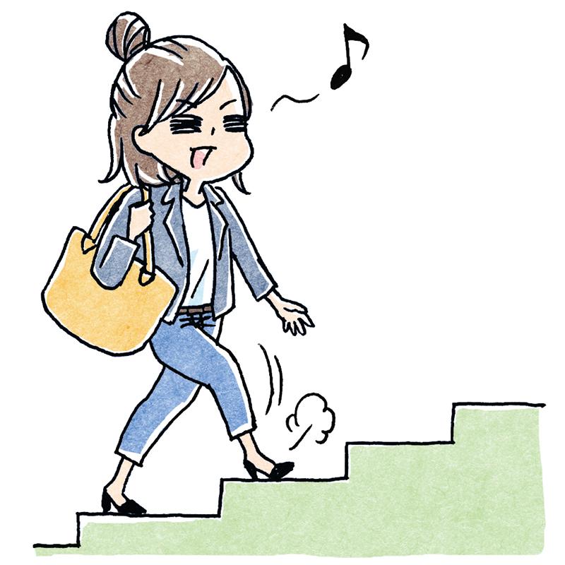 階段を上って鼻歌を歌う女性のイラスト