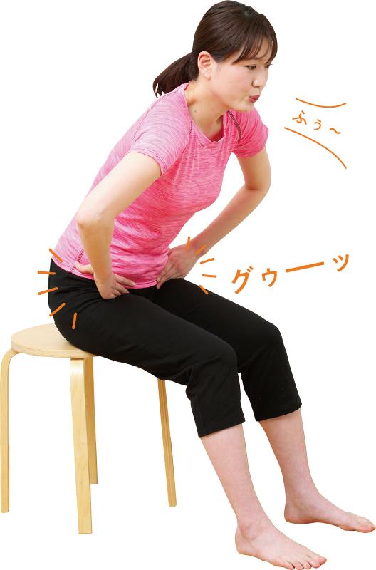 椅子に座って鼠径部刺激している女性