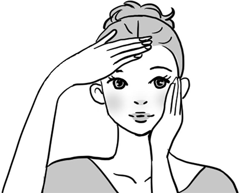 額とほおに手でプッシュするように化粧水をつけているイラスト