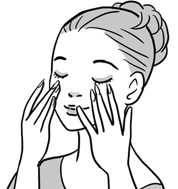 頬に乳液を塗っている女性のイラスト