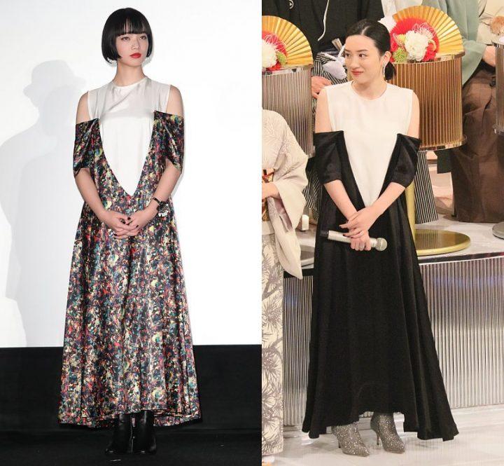 柄違いで同じ衣装を着た小松菜奈と永野芽郁