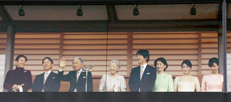 一般参賀にお出ましになった、天皇陛下、皇后美智子さま、皇太子さま、皇太子妃雅子さま、秋篠宮さま、秋篠宮妃紀子さま、眞子さま、佳子さま