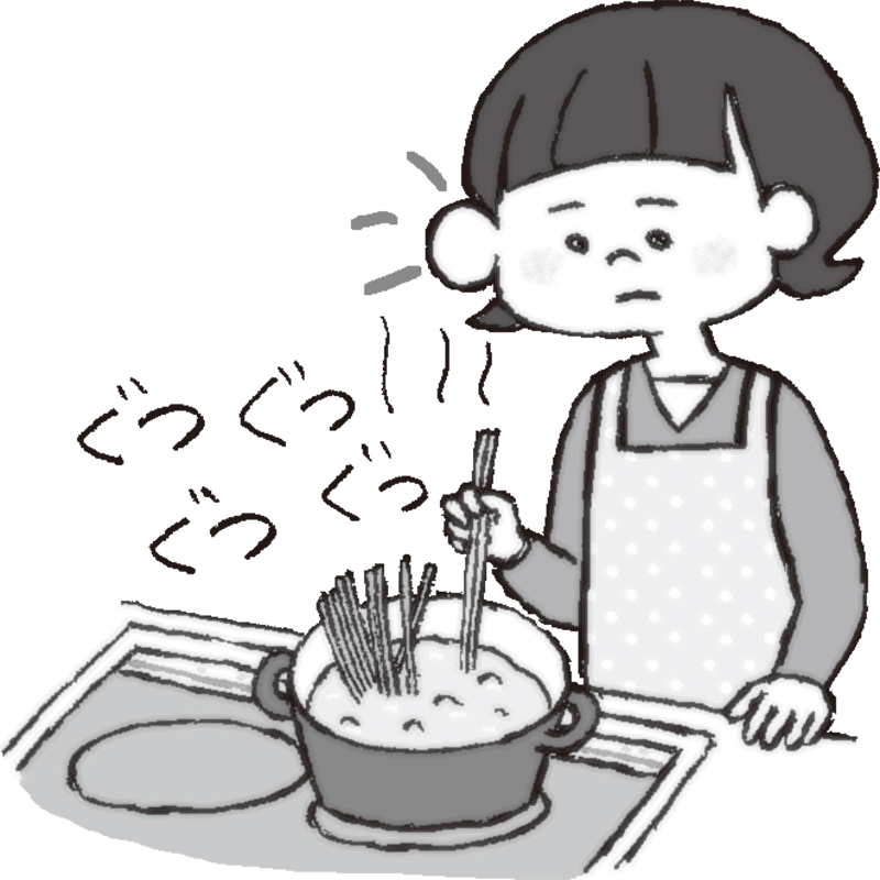 キッチンで鍋の音に耳を傾けている女性のイラスト