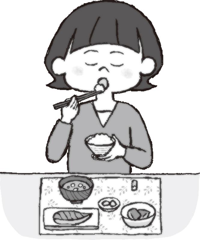 ダイニングで和食を食べる女性のイラスト