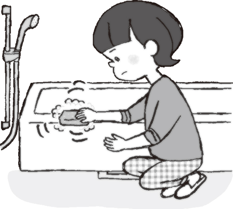 スお風呂場でポンジを見つめながら浴槽を洗う女性のイラスト