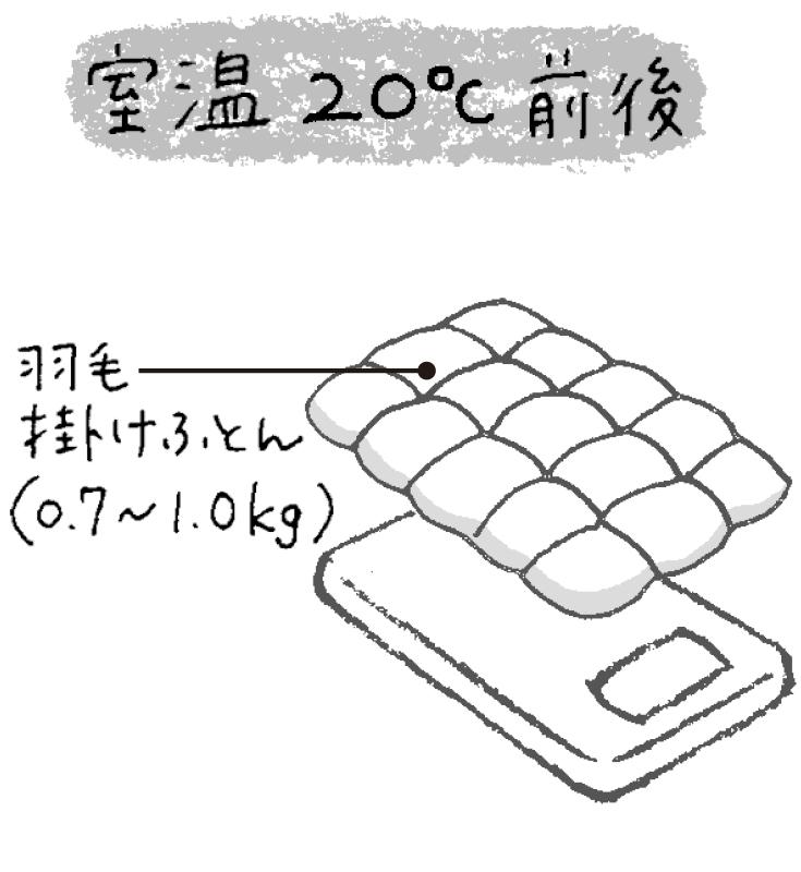 室温20℃の場合、少し薄手の羽毛掛け布団のみのイラスト