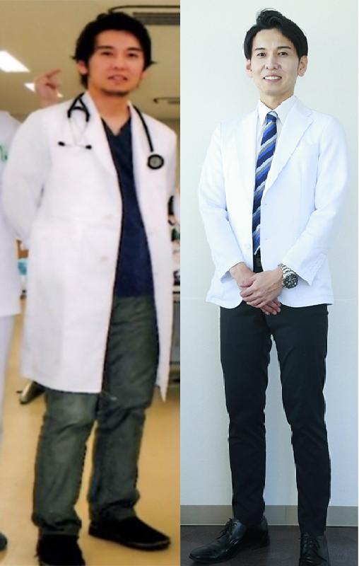 工藤医師が減量する前後の写真が2枚並んでいる