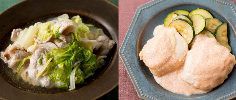 今回レシピを紹介する豚肉と白菜のさっと煮、鶏むね肉のたらこマヨネーズの出来上がり写真