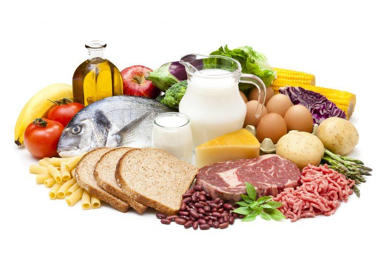 魚や肉など10カテゴリーの食品がずらりと並んでいるイメージ写真