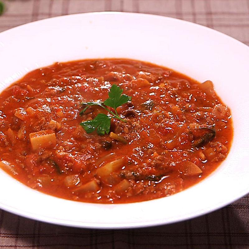 トマトを使ったチリコンカン風きな粉スープ