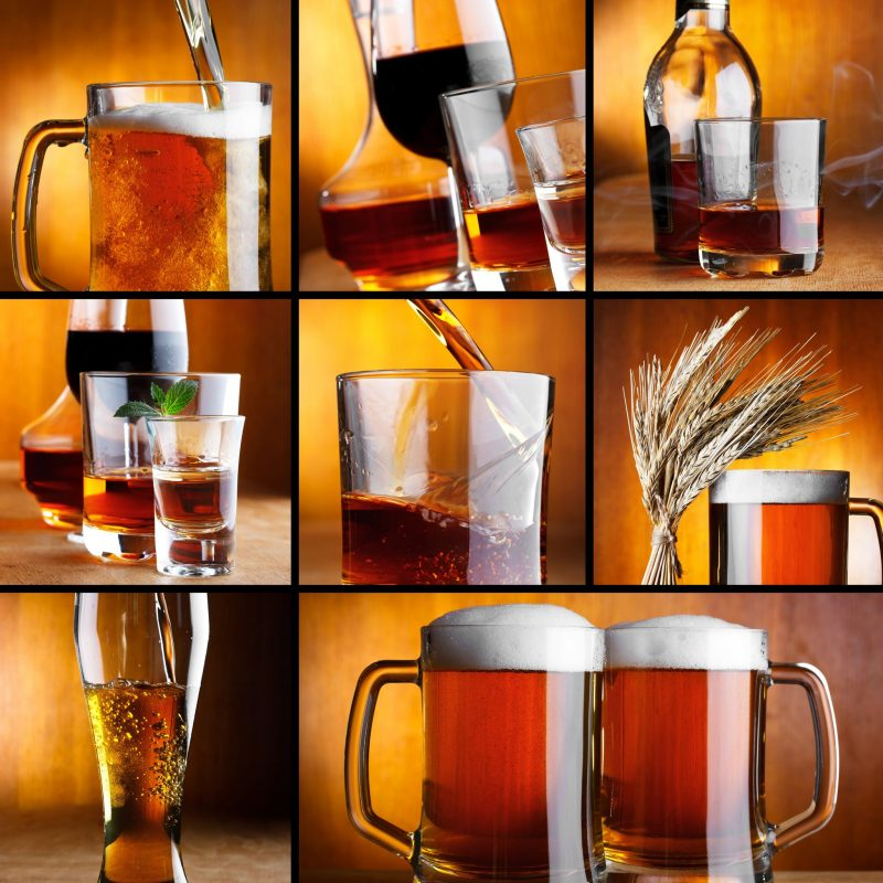 ビールやワインなどアルコールが並んでいるイメージ写真
