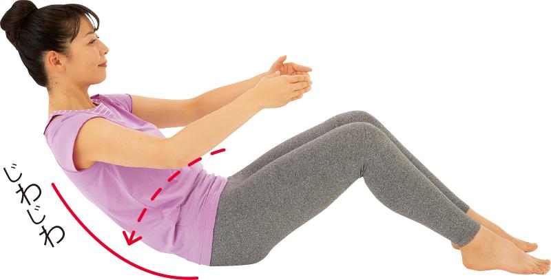 立膝で座った姿勢から、顎を引きながら背中からゆっくり倒れていく女性