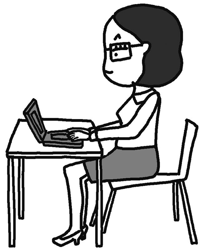 正しい座り方をしている女性のイラスト