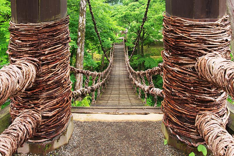 木とかずらを編んでできた吊り橋