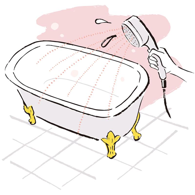 バスタブにシャワーをかけているイラスト
