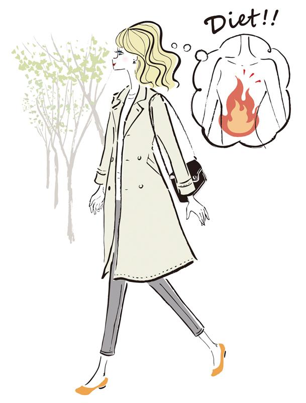 コートを着た女性が、頭の中で体が燃焼しているイメージを持って歩いているイラスト