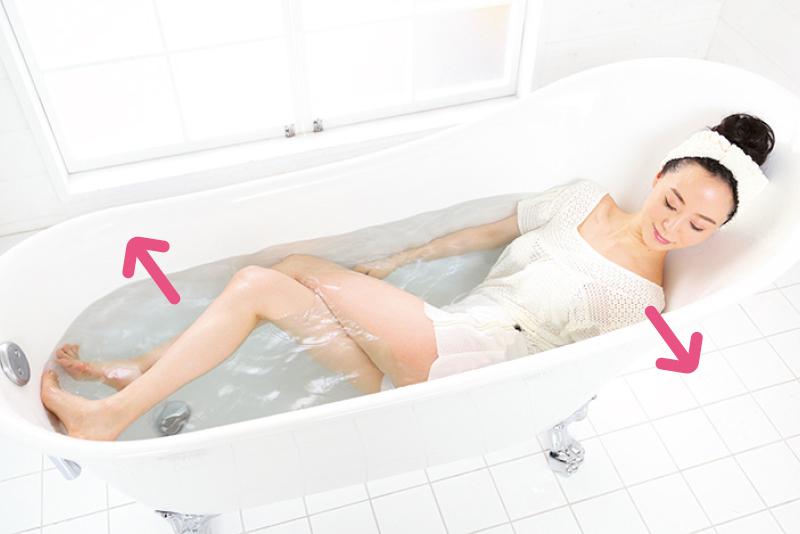 湯船に使った女性が体をひねっている