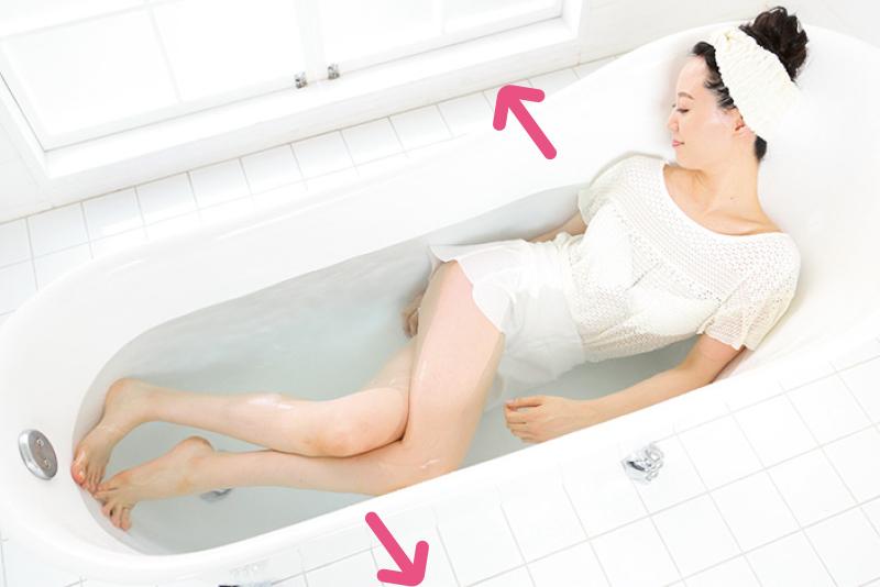 湯船に使った女性がこれまでとは逆に体をひねっている