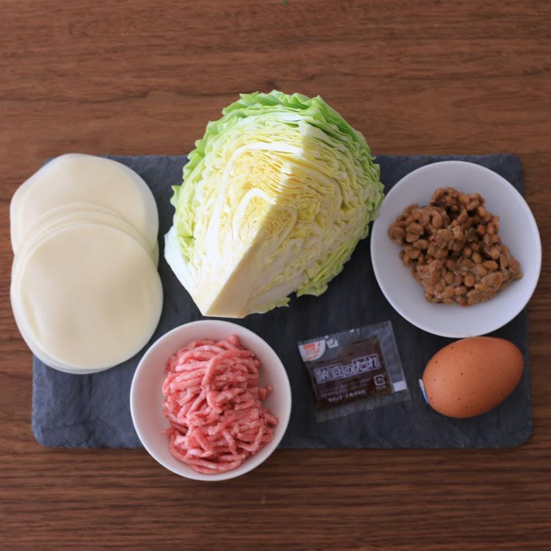「ヘルシー納豆餃子」の材料