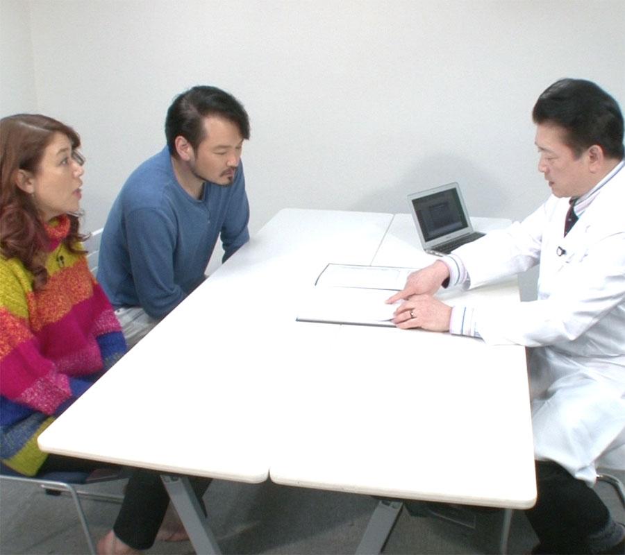 医師の説明を受けるLiLiCoさん&純烈・小田井涼平さん夫婦