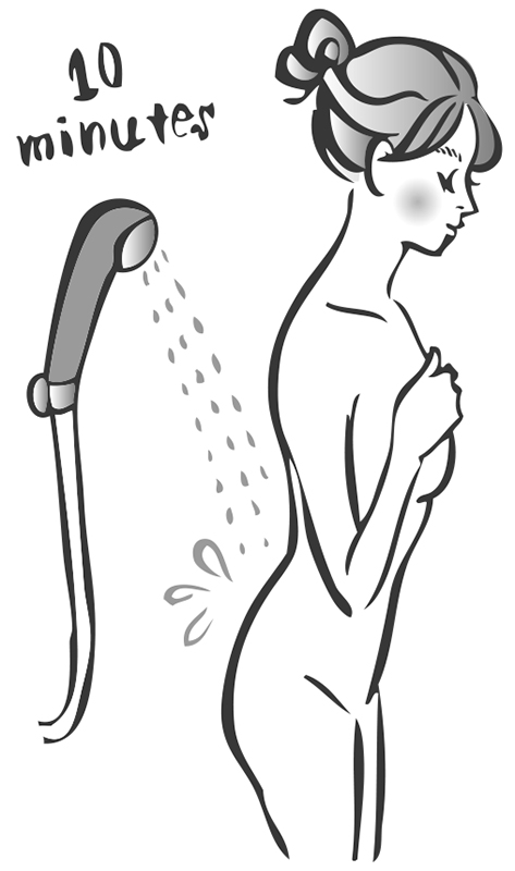 シャワーを腰に10分間当てている女性のイラスト