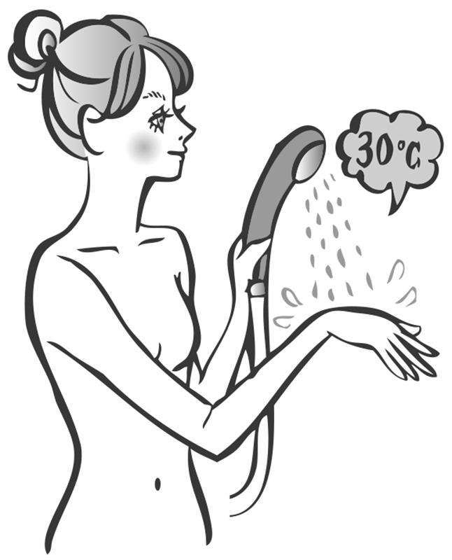 手の甲にシャワーを当てている女性のイラスト