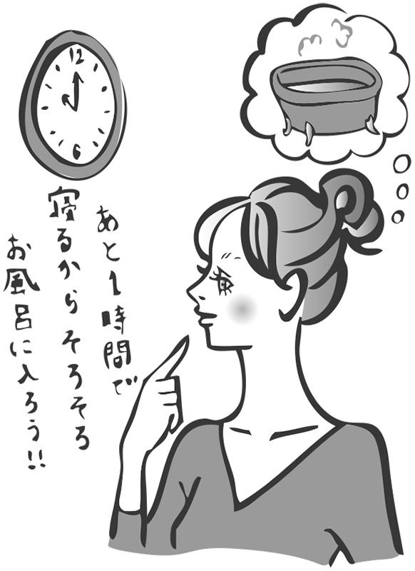 女性が時計を見ながら「あと1時間で寝るからそろそろお風呂に入ろう」と言っているイラスト