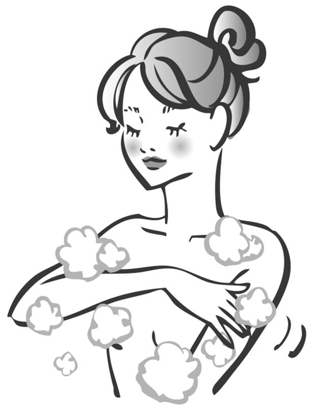泡を手でなでるようにして体を洗う女性のイラスト