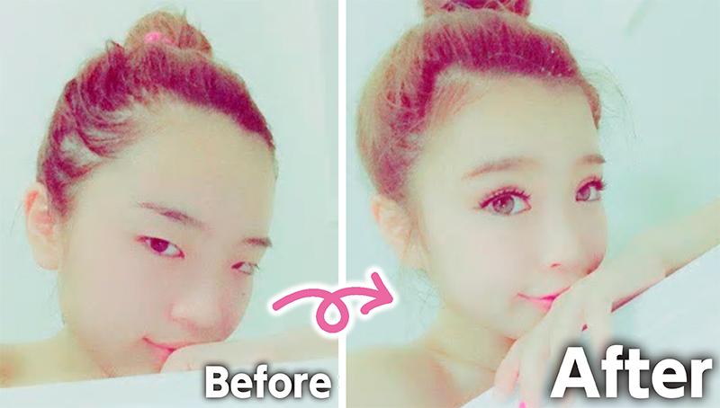 鈴木さんが整形メイクをする前と後の写真