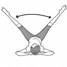 仰向けになり、両手を後頭部に当て、両足を上げて広げている女性のイラスト
