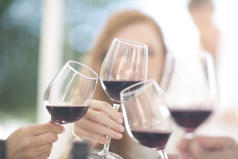 赤ワインで乾杯している女性たち