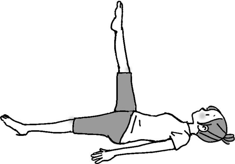 仰向けになり、両手を後頭部に当て、右足を垂直に上げている女性のイラスト