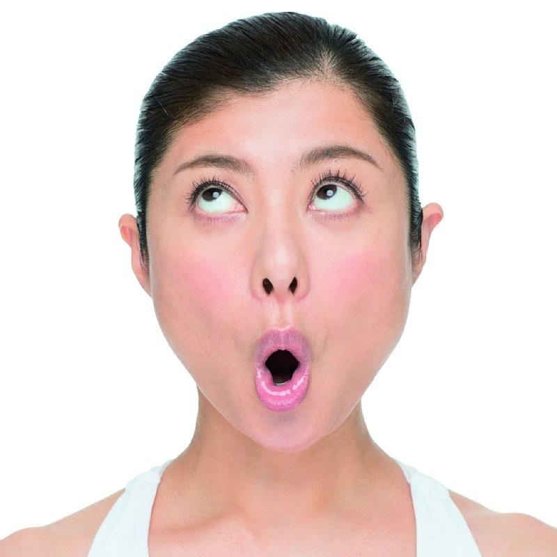 口を縦に開く。目と額を右斜めに動かす。