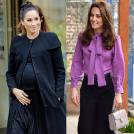 紫のリボンブラウスに黒いワイドパンツ、クリーム色のハンドバックを持ったキャサリン妃と黒いトップスに黒いカーディガン、黒いスカートをはいたメーガン妃