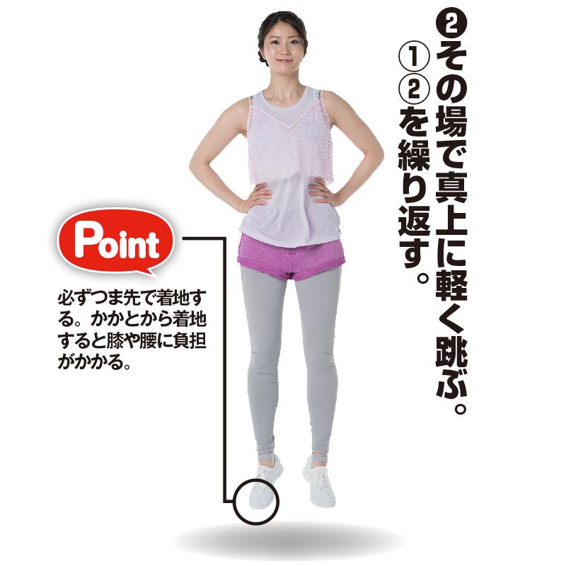 腰に手を当ててジャンプするトレーニング着姿の女性