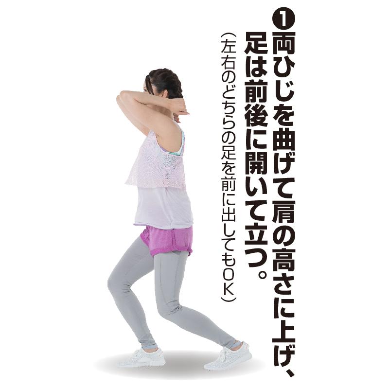 首に両手を当てて膝を曲げるトレーニング着姿の女性を横から見た画像