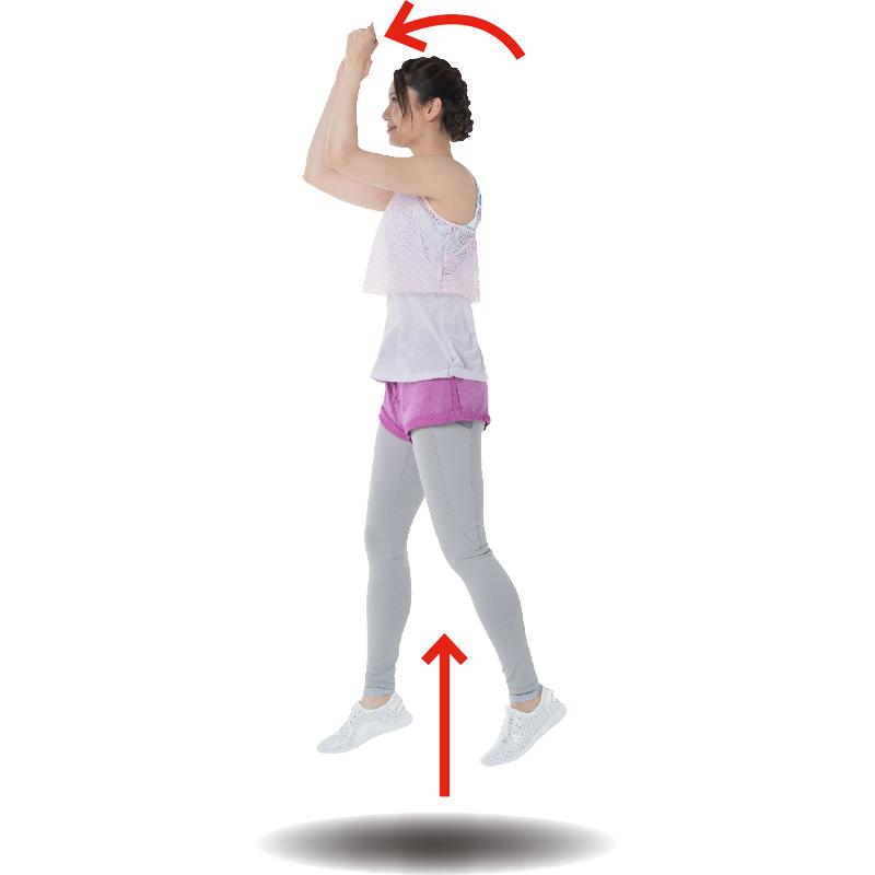 両肘をまげてジャンプするトレーニング着姿の女性を横から見た画像