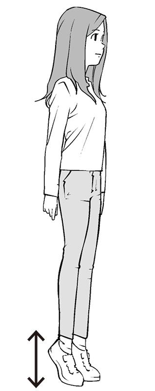 背伸び運動をしている女性のイラスト