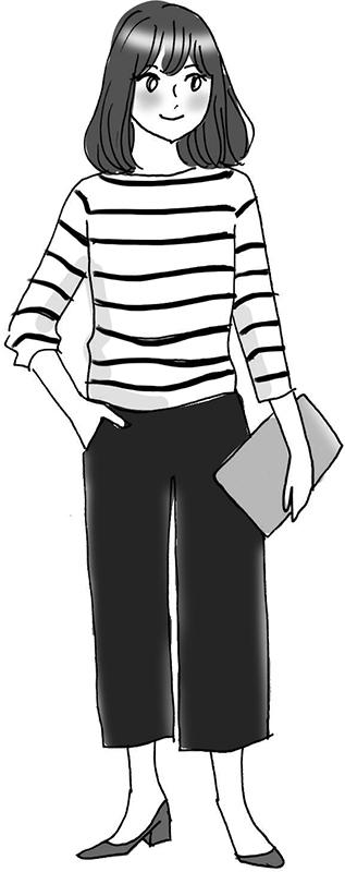 ボーダーの7分丈カットソーに短く太めのパンツを合わせた女性のイラスト