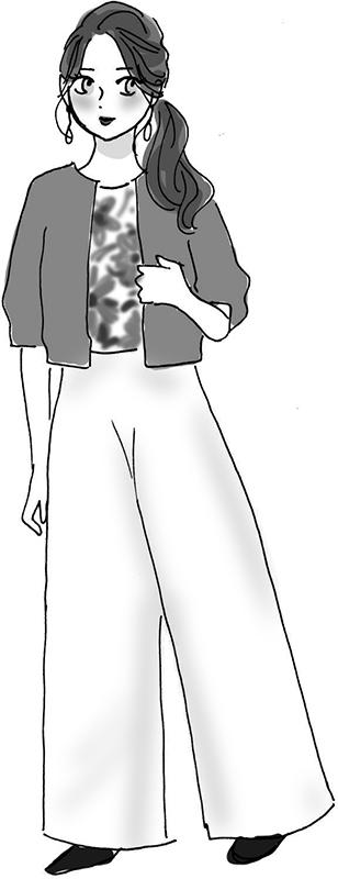 短めのトップスにたっぷりとしたワイドパンツをはいた女性のイラスト