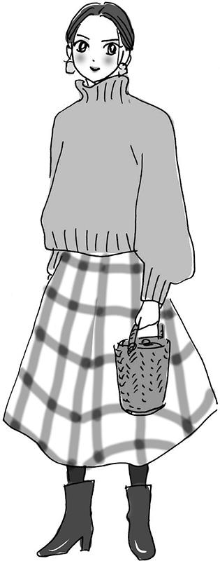ふんわりとしたセーターにたっぷりとしたスカート、ショートブーツの女性のイラスト