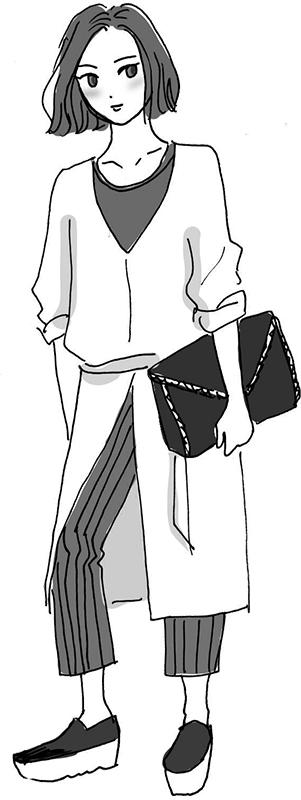 ロングトップスにストライプパンツスリッポンシューズ、大きなクラッチバッグの女性のイラスト
