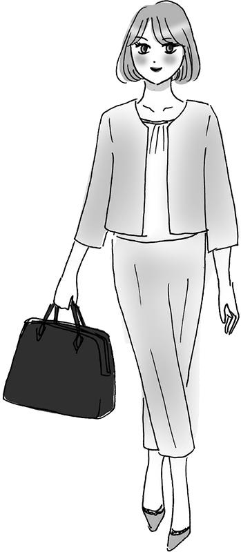 ノーカラージャケットにセンタープレスの短めパンツ、きっちりしたブラックバッグの女性のイラスト