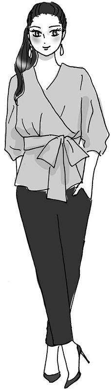 カシュクールシャツに黒いパンツの女性のイラスト