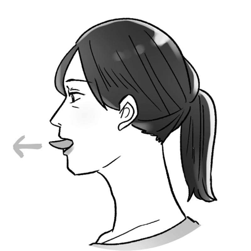 舌を前に突き出している女性のイラスト