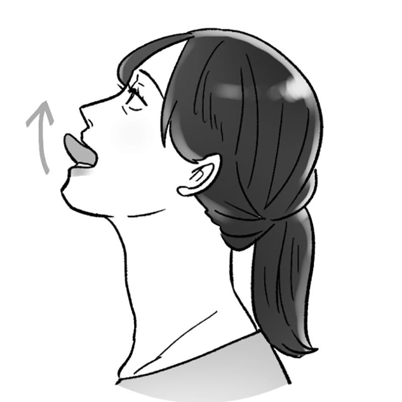 あごを持ち上げて舌を出している女性のイラスト