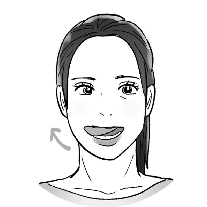 舌を右に出している女性のイラスト