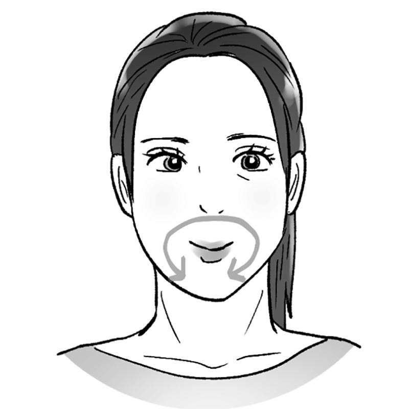 口の中で舌を歯茎に沿って動かしている女性のイラスト
