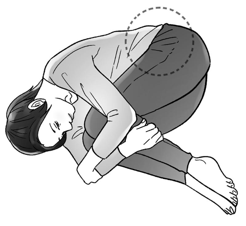 ひざを抱えて寝ている女性のイラスト