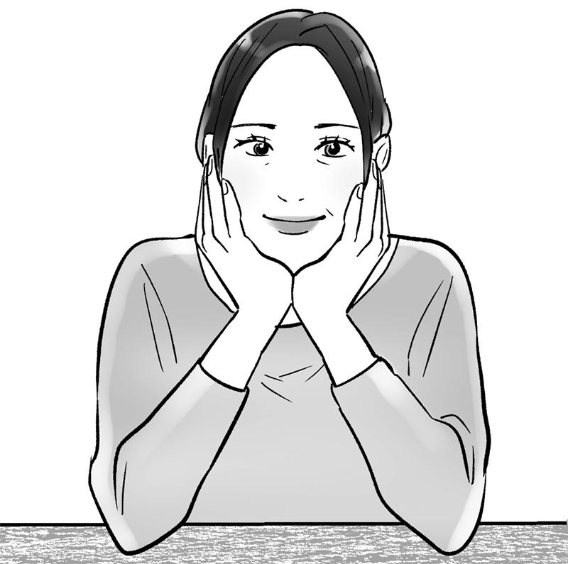 両手で頬づえをついている女性のイラスト